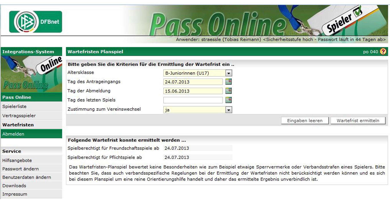Pass Online Dfb