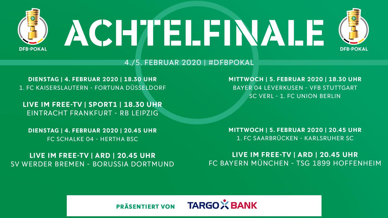 Pokalachtelfinale Drei Spiele Live Im Free Tv Dfb