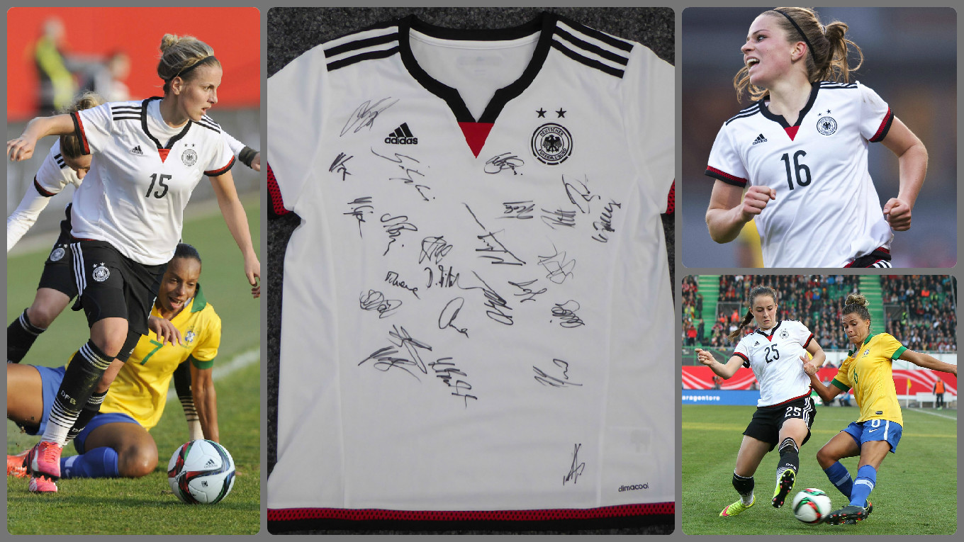 wm trikot mit originalunterschriften der dfb frauen gewinnen dfb deutscher fu ball bund e v. Black Bedroom Furniture Sets. Home Design Ideas