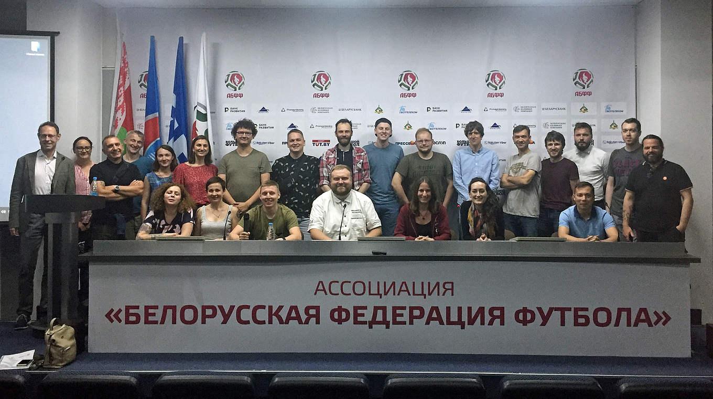 Austausch in Minsk: 25 Teilnehmer aus Belarus, Ukraine, Russland und Deutschland © DFB
